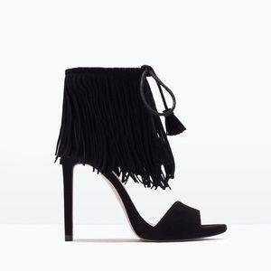 Zara Fringed Ankle Strap Sandals Size 39